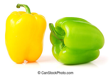 Yellow and green bell peppers isolated on white background