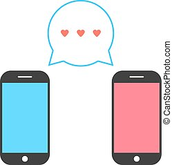 pink and blue smartphones with double speech bubble