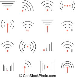 simple set of thin red and black wifi icons concept of free...