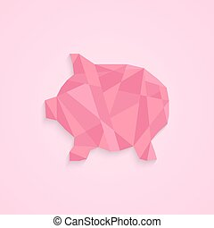 low poly piggy bank concept of savings, deposit policy, nest...