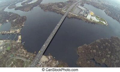 Aerial shot of Southern bridge over the Dnieper in Kiev.