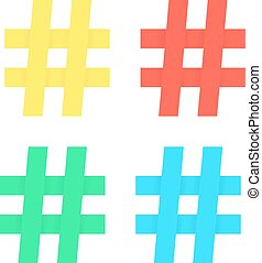 set of colored hashtag sticker concept of social media,...