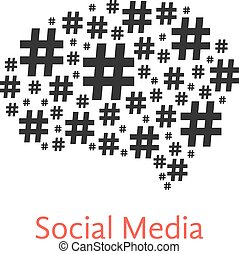 social media icon with brain from hashtag concept of number...