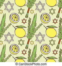 Sketch Sukkot pattern in vintage style, vector