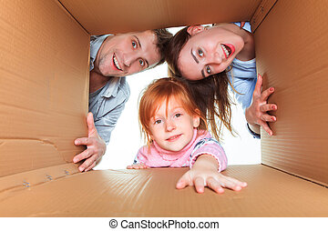Family in a cardboard box ready for moving house - The...