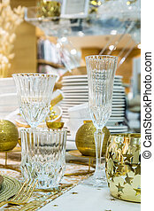 Holiday dinner table - Elegantly holiday dinner table with...
