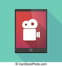 Long shadow tablet pc icon with a film camera - Illustration...