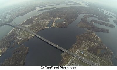 Aerial shot of Southern bridge over the Dnieper in Kiev
