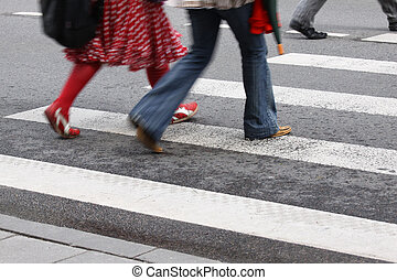 Pedestrian crossing - Horizontal picture of blurred...