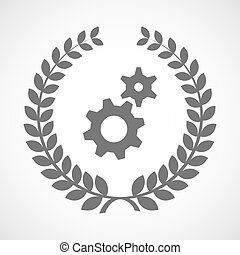 Isolated laurel wreath icon with two gears