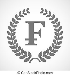 Isolated laurel wreath icon with a swiss franc sign -...