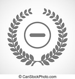 Isolated laurel wreath icon with a subtraction sign -...