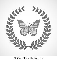 Isolated laurel wreath icon with a butterfly