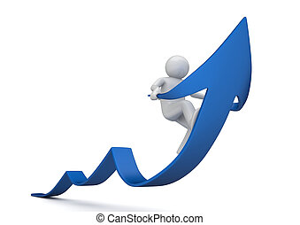 Riding blue arrow of success - 3d isolated characters on...