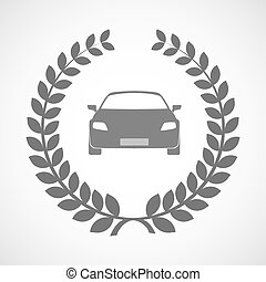 Isolated laurel wreath icon with a car