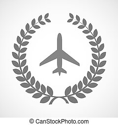 Isolated laurel wreath icon with a plane