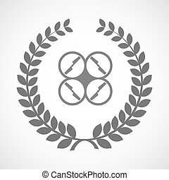 Isolated laurel wreath icon with a drone - Illustration of...