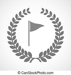 Isolated laurel wreath icon with a golf flag - Illustration...