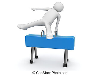 Athlete on a pommel horse - 3d isolated on white background...
