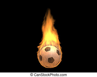 Hot burning football - 3d isolated on dark background sports...