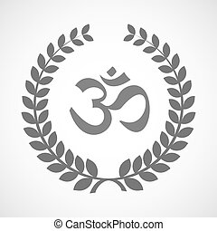 Isolated laurel wreath icon with an om sign - Illustration...