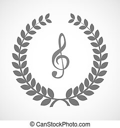 Isolated laurel wreath icon with a g clef - Illustration of...
