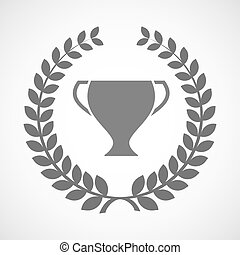 Isolated laurel wreath icon with a cup
