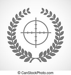 Isolated laurel wreath icon with a crosshair - Illustration...
