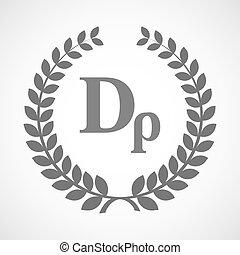 Isolated laurel wreath icon with a drachma currency sign -...