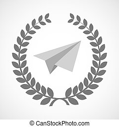 Isolated laurel wreath icon with a paper plane