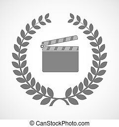 Isolated laurel wreath icon with a clapperboard -...