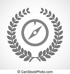 Isolated laurel wreath icon with a compass