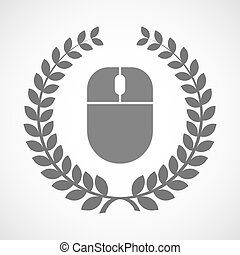 Isolated laurel wreath icon with a wireless mouse