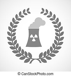 Isolated laurel wreath icon with a nuclear power station -...