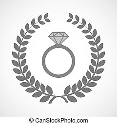 Isolated laurel wreath icon with an engagement ring