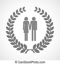 Isolated laurel wreath icon with a heterosexual couple...