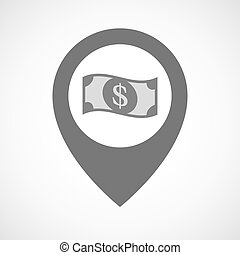Isolated map marker with a dollar bank note - Illustration...