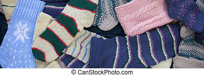 knitted socks background - Colorful knitted rough woolen...
