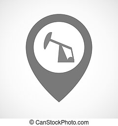 Isolated map marker with a horsehead pump - Illustration of...