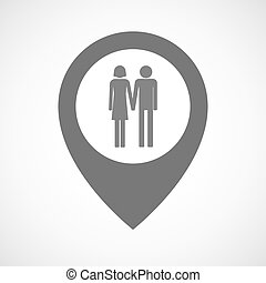Isolated map marker with a heterosexual couple pictogram -...
