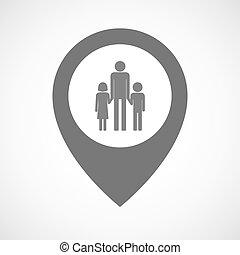 aislado, mapa, marcador, con, Un, macho, solo, padre,...