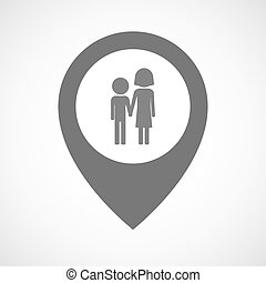 Isolated map marker with a childhood pictogram -...