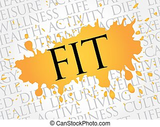 Fit word cloud, health concept