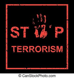 Vector handprint with inscription Stop terrorism - Vector...