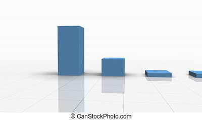Falling Bar Graph in L Blue w Arrow - Falling Bar Graph in...
