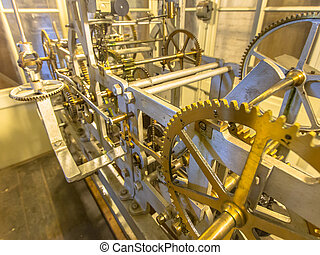 Ancient clockwork of a church clock - Mechanism of a church...