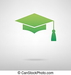 Mortar Board or Graduation Cap, Education symbol Green icon...