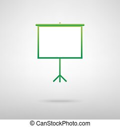 Blank Projection screen. Green icon with shadow on the grey...