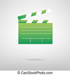 Film clap board cinema. Green icon with shadow on the grey...