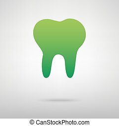Tooth sign. Green icon with shadow on the grey backgroud